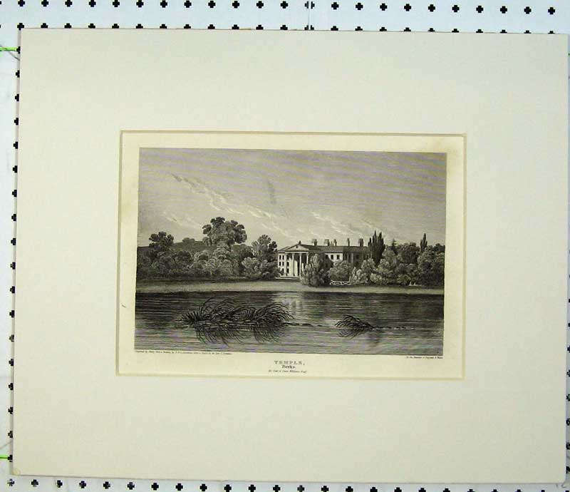 Print C1820 Engraving Temple Berkshire Owen Williams Mansion 114C230 Old Original