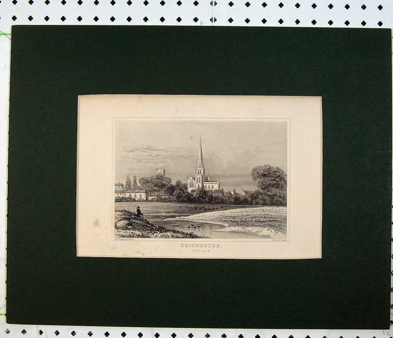Print Engraving View Chichester Sussex England Church Tower 116C230 Old Original