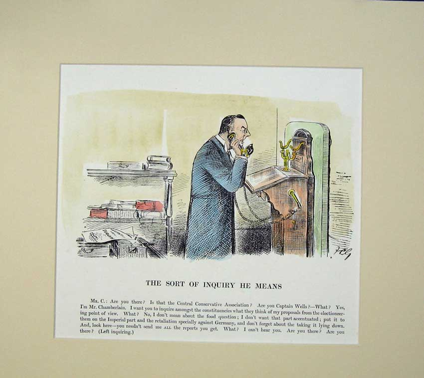 Print Politics Chamberlain Telephone Man Gould Colour 308C231 Old Original