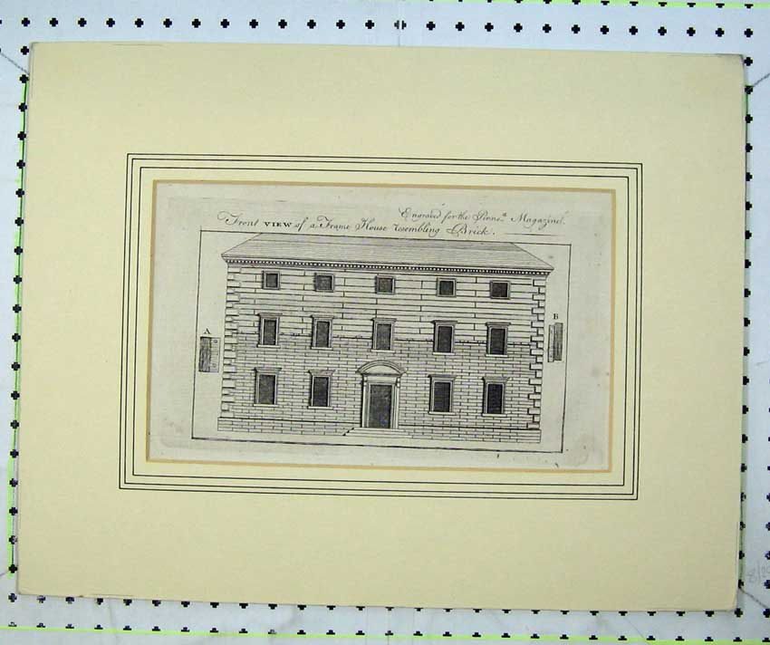 Print Engraving Front View Frame House Brick Building House 204C232 Old Original