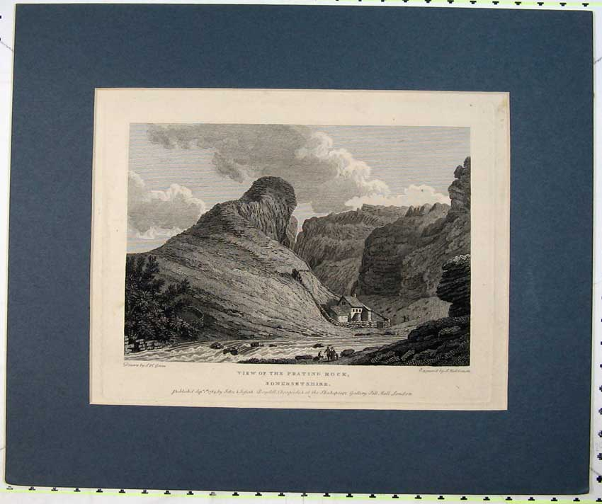 Print View Prating Rock Somersetshire England House River 206C232 Old Original