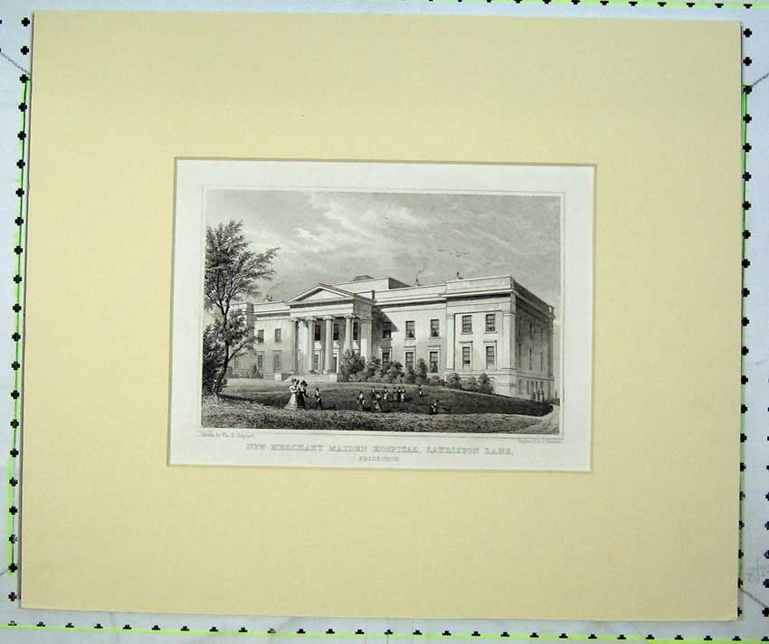 Print C1800 New Merchant Maiden Hospital Lauriston Edinburgh 207C232 Old Original