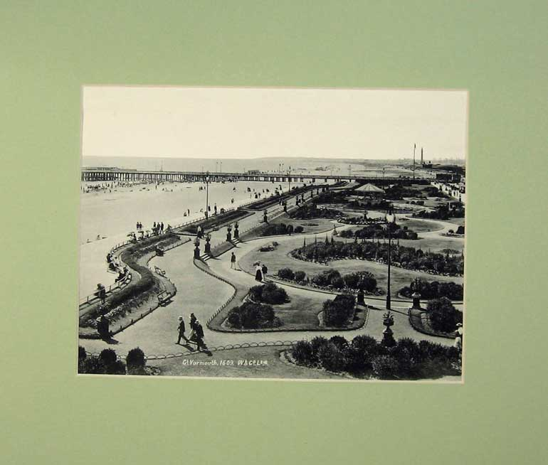 Print C1950 Photo Lithograph Great Yarmouth Pier Sea Garden 209C232 Old Original