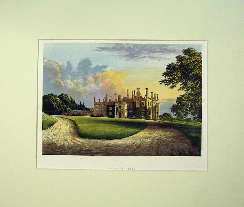 Print C1930 View Eggesford House Mansion Colour Lithograph 504C233 Old Original