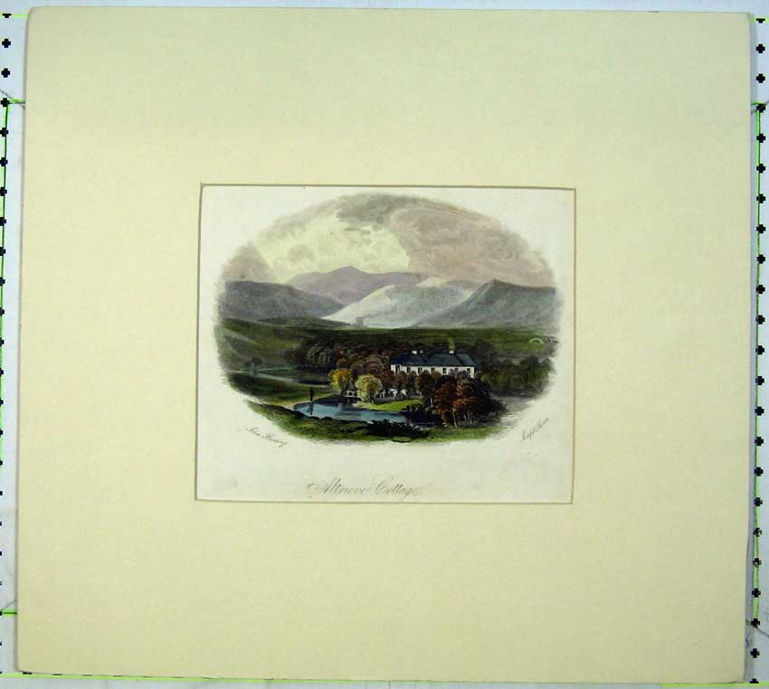 Print Engraving View Atrieve Cottage House Mountains River 506C233 Old Original