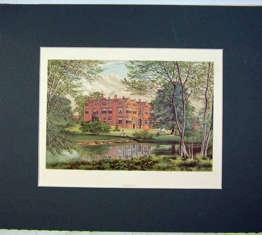 Print 1930 Chromolithograph View Franks Mansion House River 513C233 Old Original