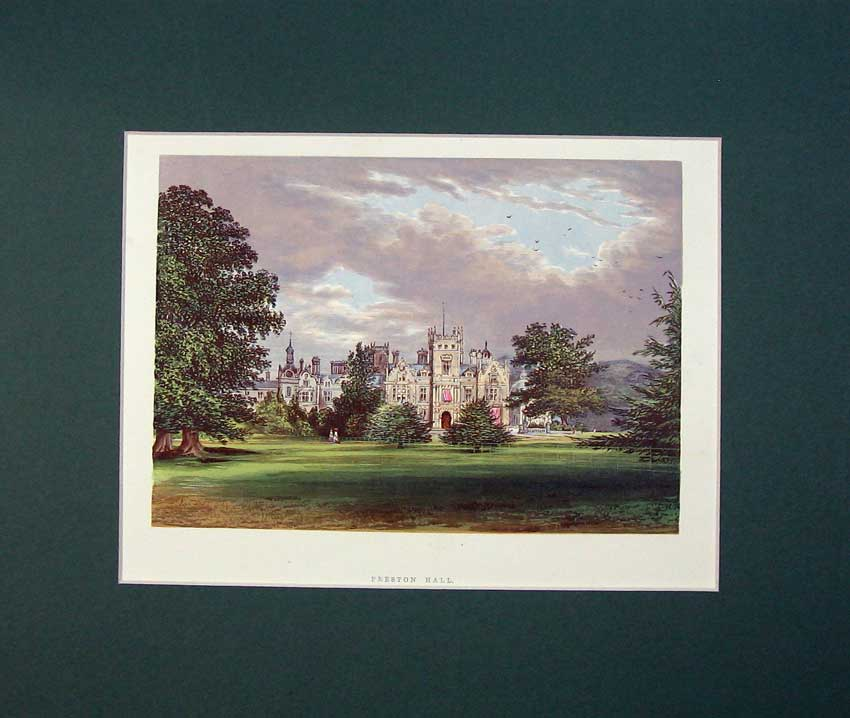 Print C1930 View Preston Hall Kent England Chromolithograph 515C233 Old Original