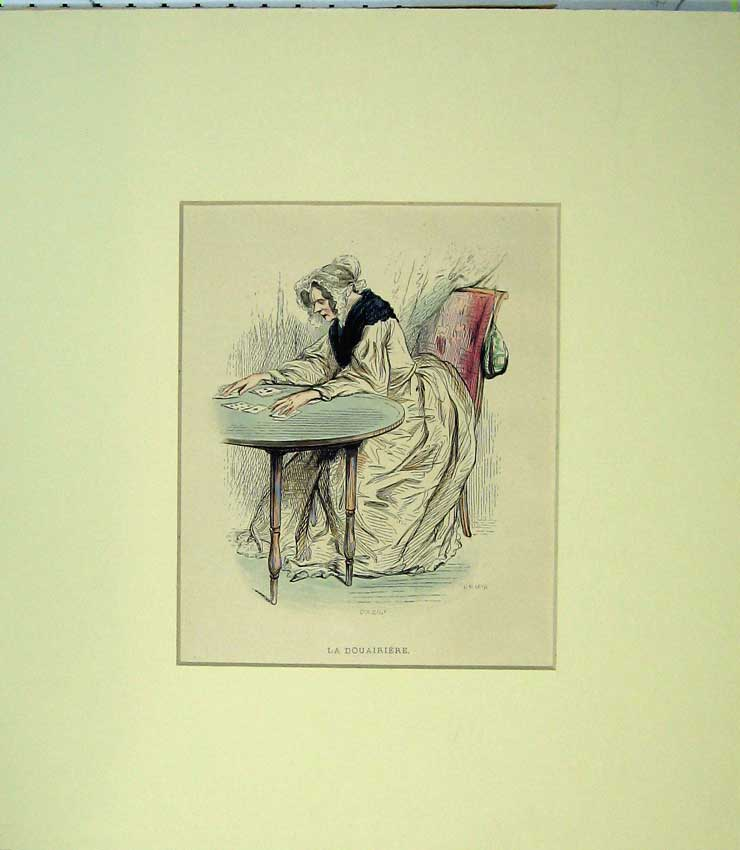 Print C1870 Hand Coloured Woman Lady Douairiere Card Table 517C233 Old Original