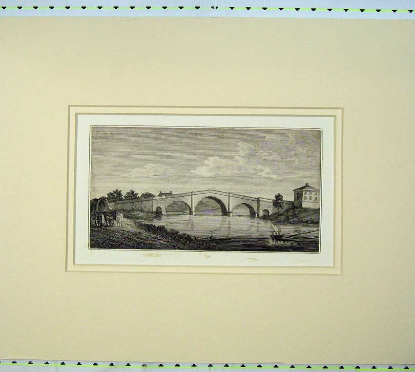 Print 1800 View River Derwent Bridge Boat Cart Men Engraving 518C233 Old Original