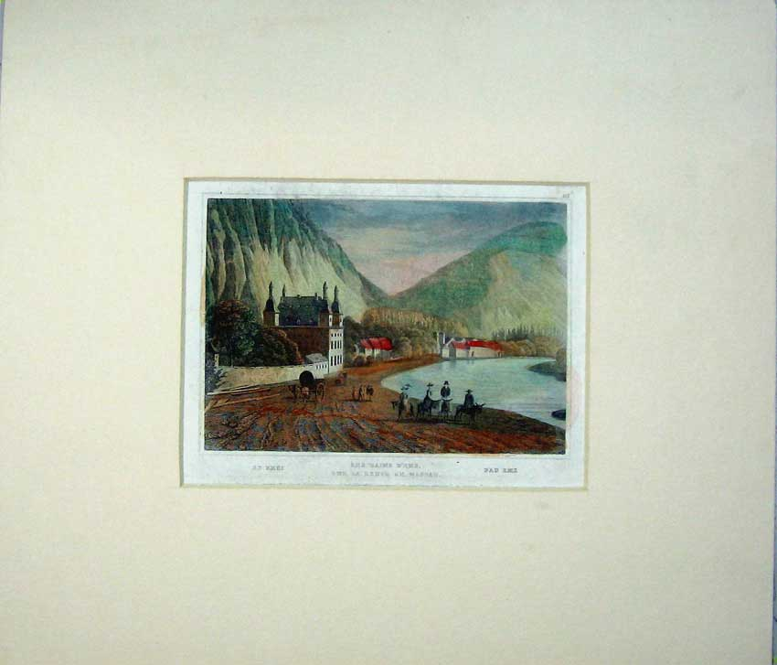 Print View Les Bains Sur Route Nassau French Mountains River 402C234 Old Original