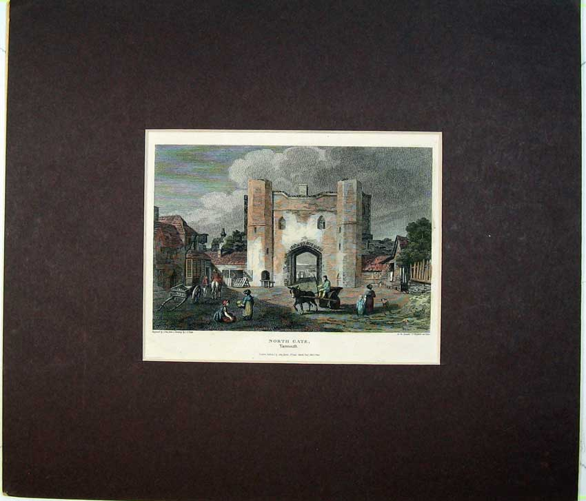 Print 1812 Colour Engraving View North Gate Yarmouth England 403C234 Old Original