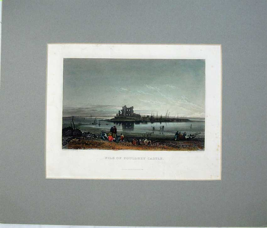 Print Hand Coloured Engraving Fouldrey Castle Ruins Ships 406C234 Old Original