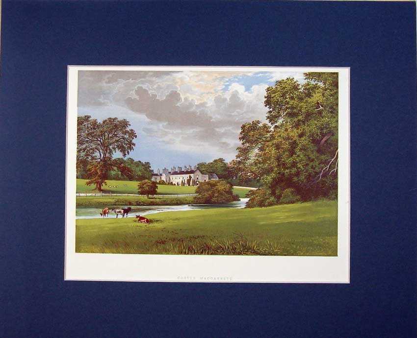 Print View Castle Macgarrett C1930 Garden River Trees Country 409C234 Old Original