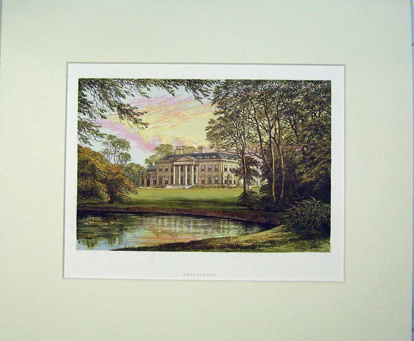 Print C1930 View Broadlands Mansion House Buckinghamshire 410C234 Old Original