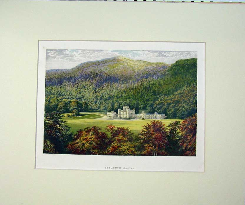 Print C1930 View Taymouth Castle Perth Scotland Mountains 413C234 Old Original