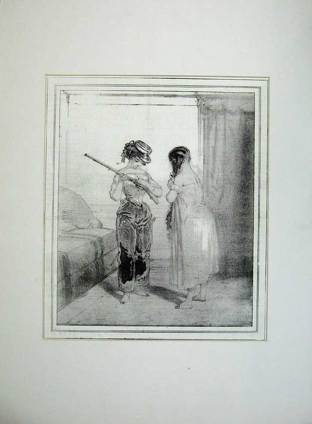 Print 1843 French Women Soldiers War Army Rifle Gun Hat Dress 102C235 Old Original