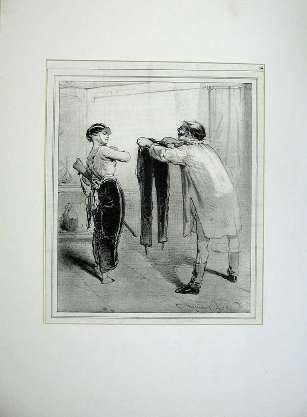 Print French Women Soldiers War Army Man Trousers 1843 Gun 103C235 Old Original