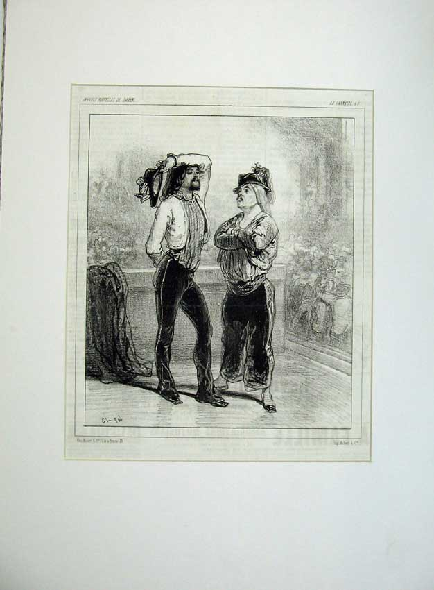 Print 1843 French Men Theatre Uniform Costume Hat War Army 104C235 Old Original