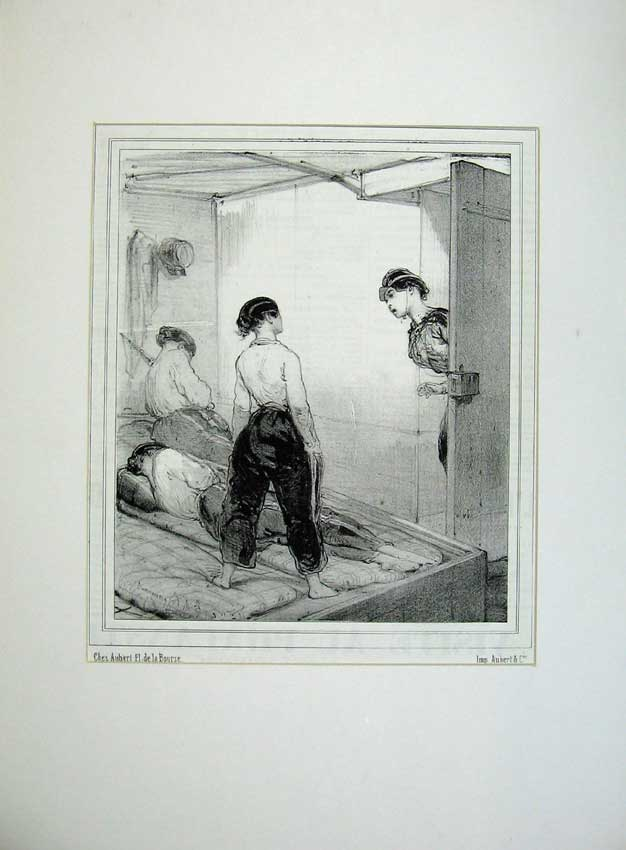 Print 1843 French Women Army Soldier Uniform Sleeping Bed War 105C235 Old Original