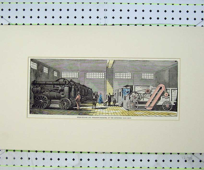 Print Steam Engines Thrashing Machines Smithfield Club Show 206C236 Old Original