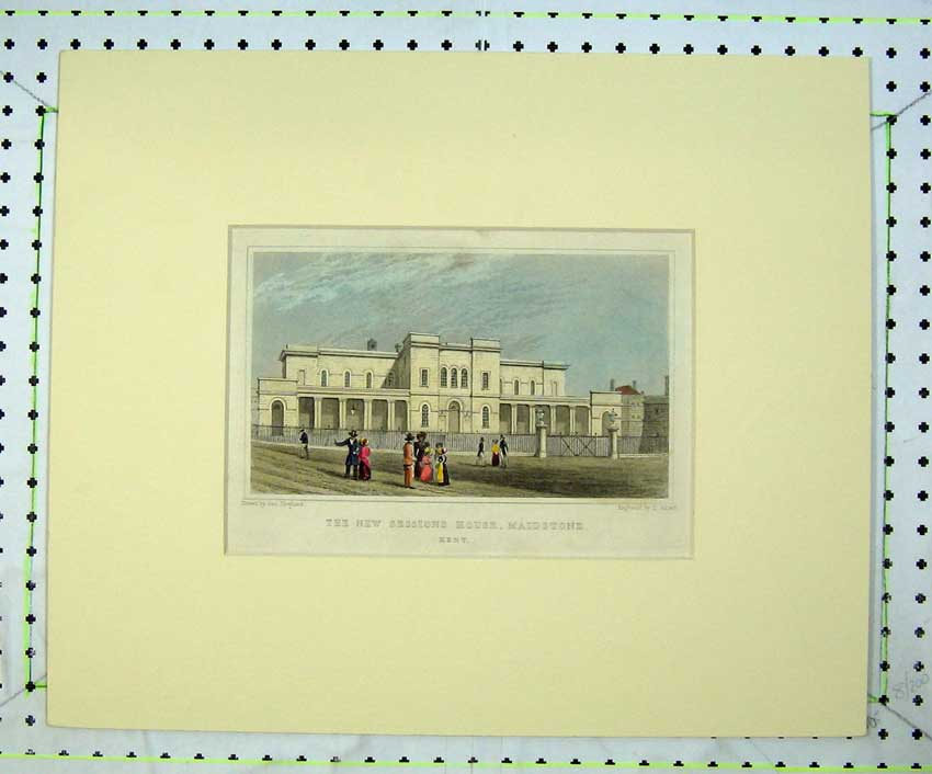 Print Exterior New Sessions House Maidstone Kent Hand Colour 208C236 Old Original