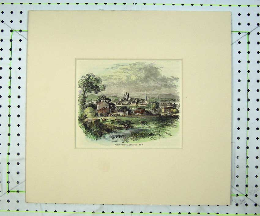 Print View Town Hereford Athelstane Hill River Cows Church 210C236 Old Original