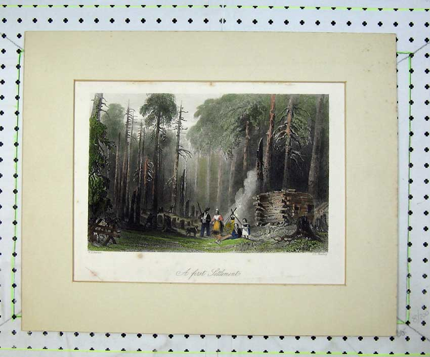 Print Country View First Settlement Camp Fire Trees Bentley 212C236 Old Original