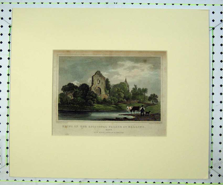 Print View Ruins Episcopal Palace Halling Kent Country River 217C236 Old Original