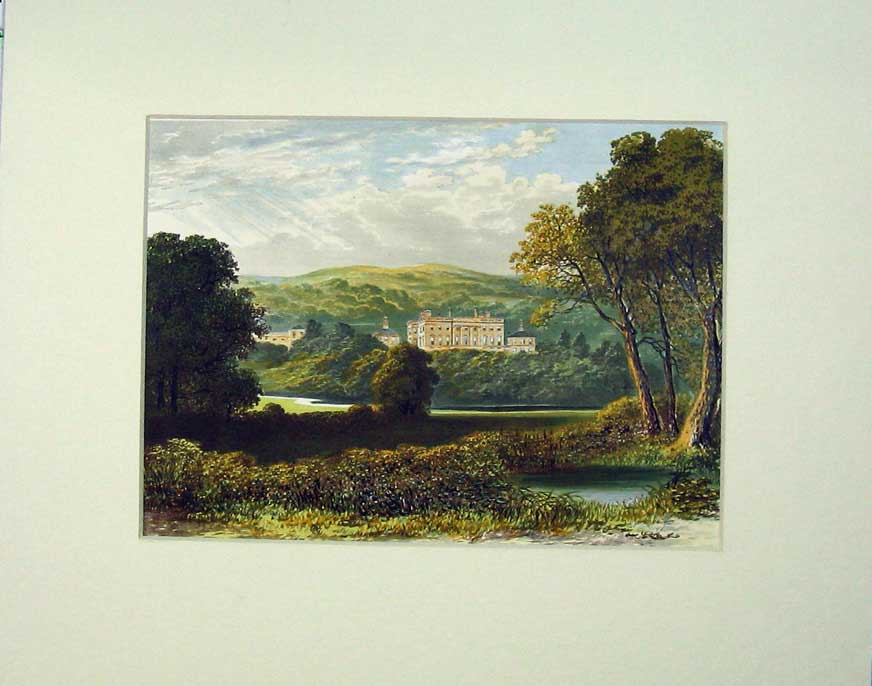 Print Lithograph View Palace Mansion Mountains Trees River 302C238 Old Original