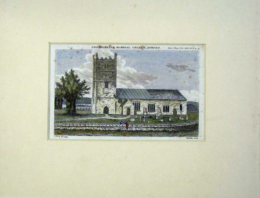 Print Exterior View Stourminster Marshal Church Dorset 307C238 Old Original
