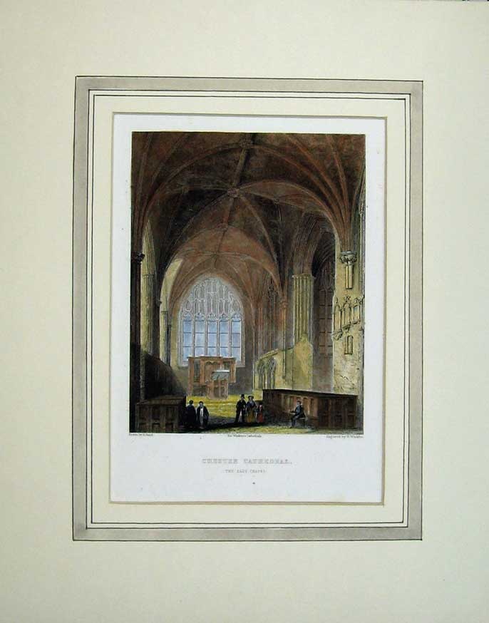 Print Interior View Lady Chapel Chester Cathedral Church 308C238 Old Original