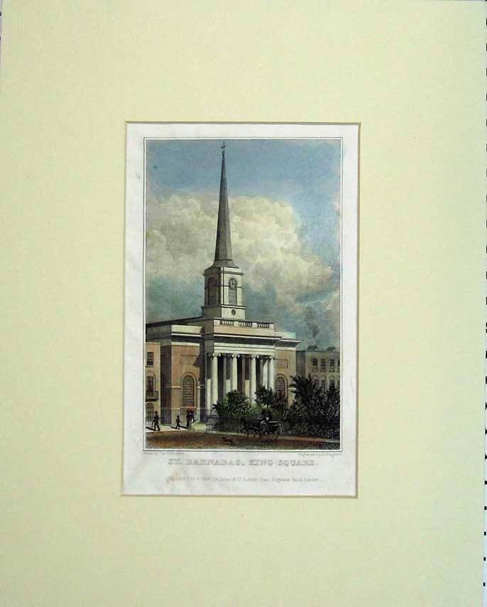 Print 1828 Exterior View St Barnabas King Square Steeple 315C238 Old Original