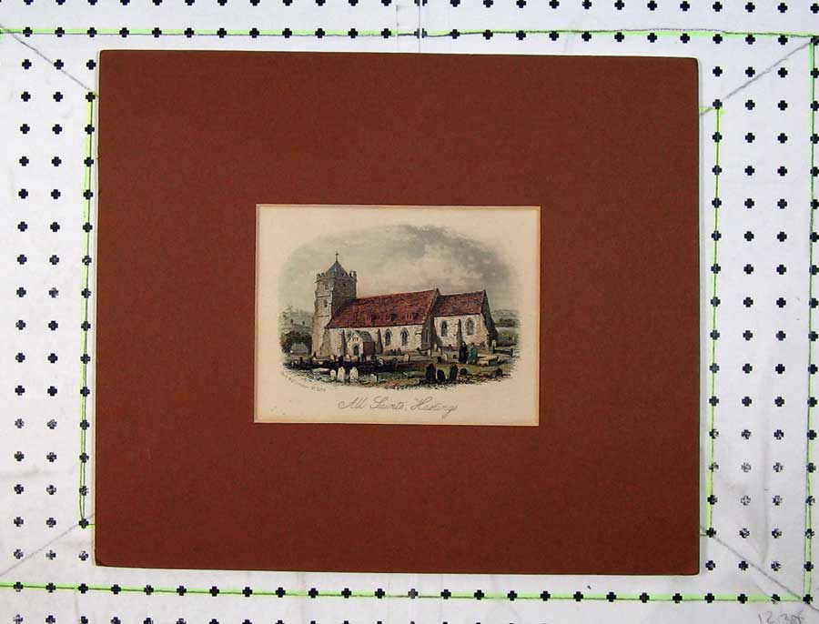 Print Hand Coloured View All Saints Church Hastings England 318C238 Old Original