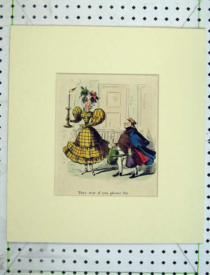 Print C1840 Hand Coloured Comedy Lady Man Suitcase Lamp 325C238 Old Original