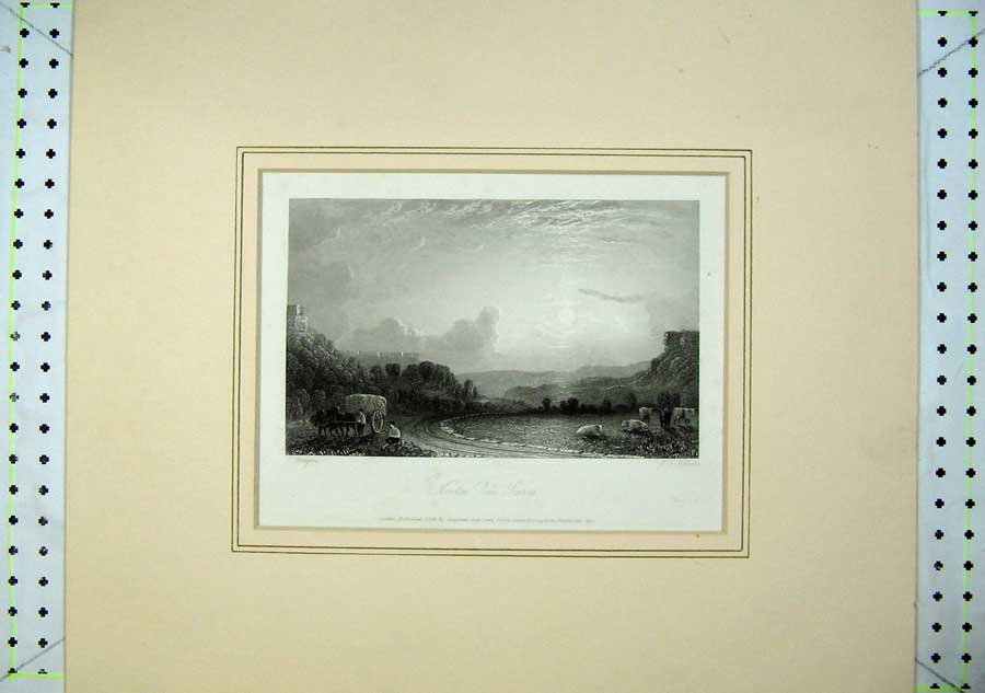 Print 1836 Country View Newton Dale Csarrs Cows Horse Hay 409C238 Old Original