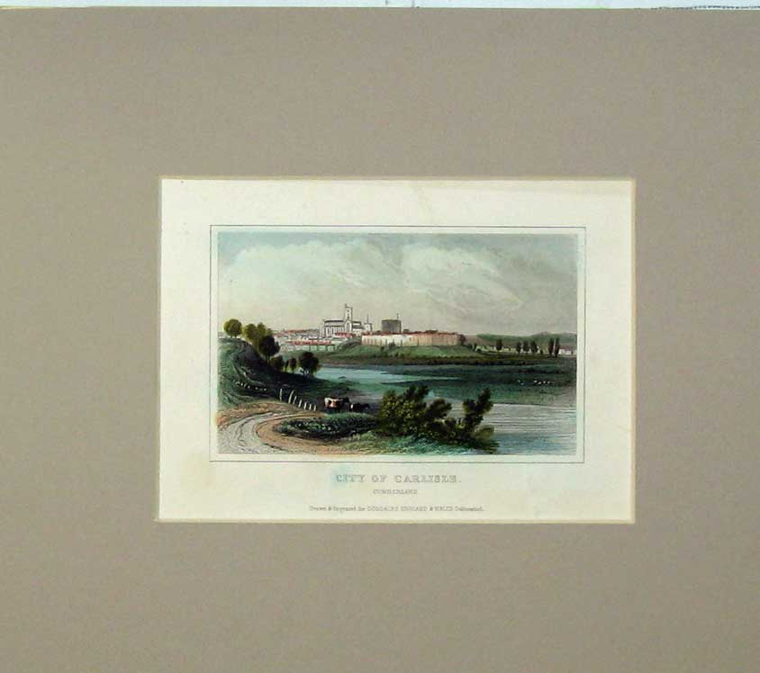 Print View City Carlisle Cumberland Scotland Hand Coloured 503C239 Old Original