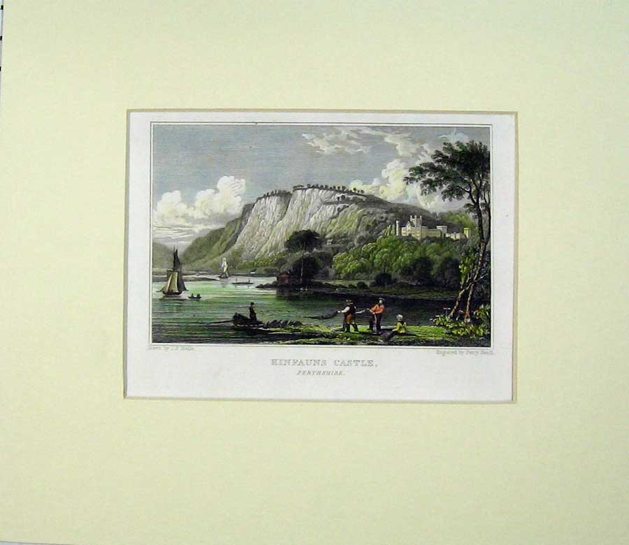 Print Hand Coloured View Kinfauns Castle Perthshire Scotland 509C239 Old Original