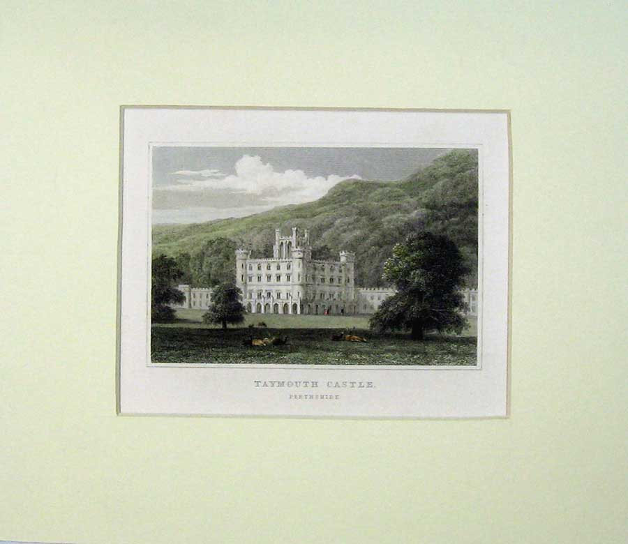 Print View Taymouth Castle Perthshire Scotland Mountains 514C239 Old Original