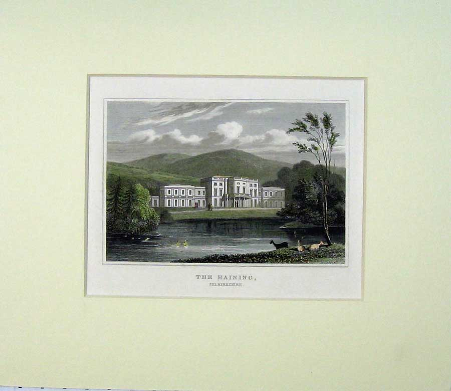 Print View Haining Mansion House Selkirkshire Scotland River 518C239 Old Original