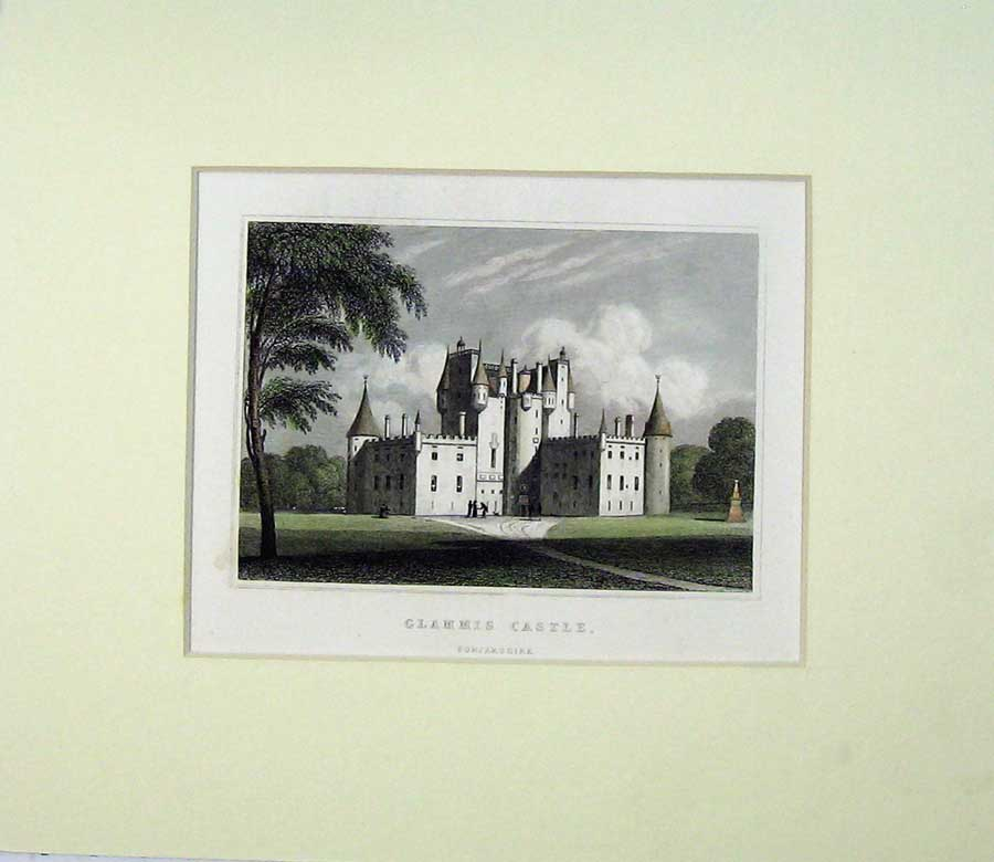 Print View Glammis Castle Forfarshire Scotland Garden Trees 520C239 Old Original