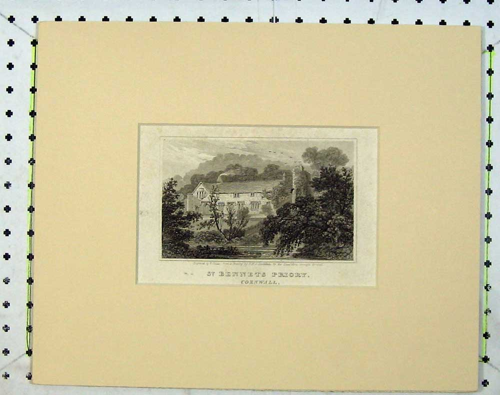Print C1830 View St Bennets Priory Cornwall England Trees 613C240 Old Original