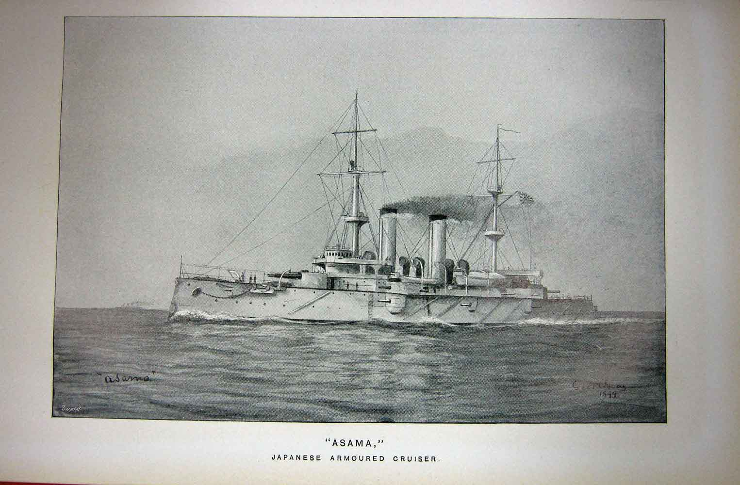 [Print Navy Ship 1899 Asama Japanese Armoured Cruiser War 176C243 Old Original]