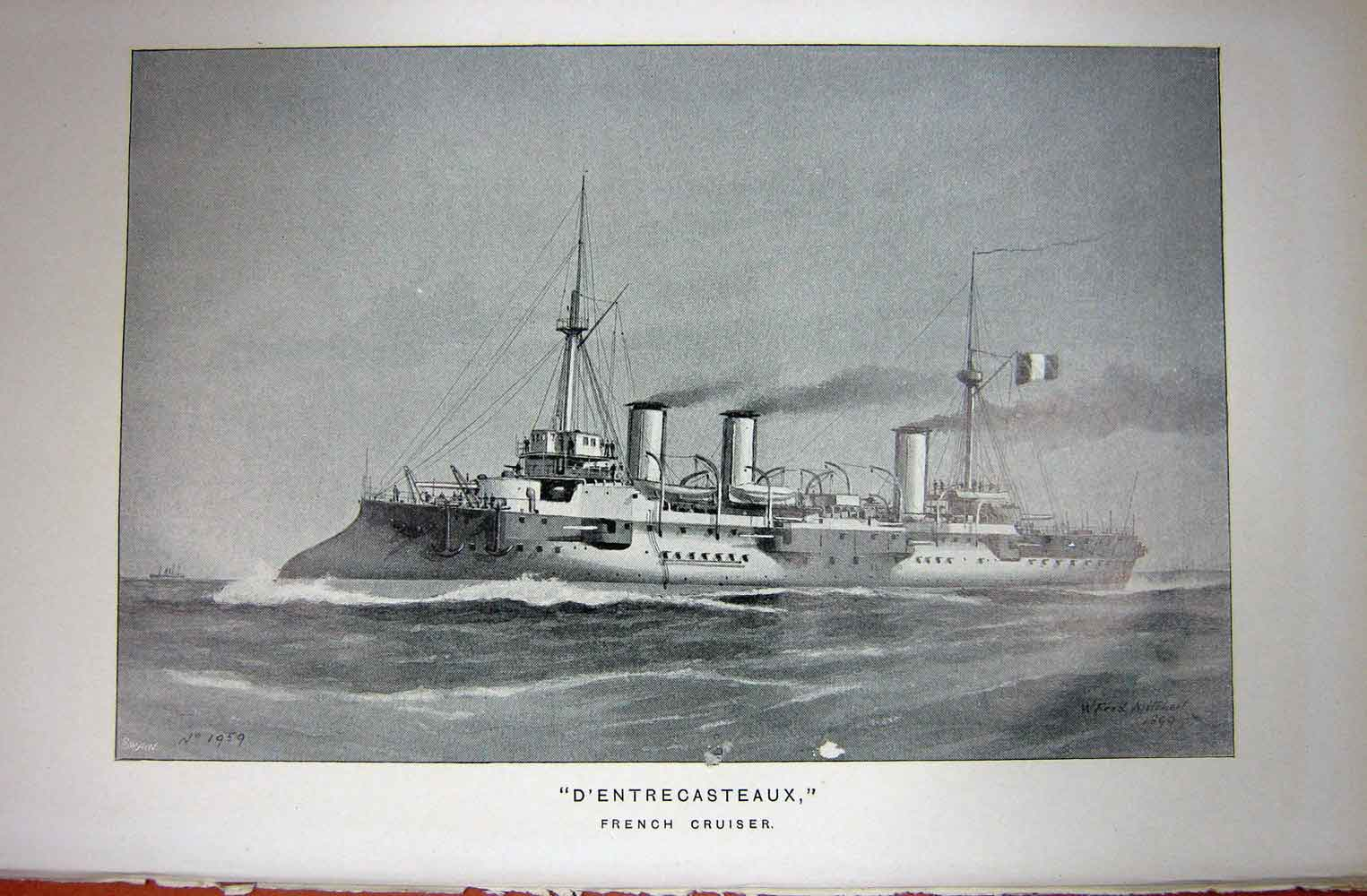 [Print Navy Ship 1899 French Cruiser D'Entrecasteaux War 182C243 Old Original]