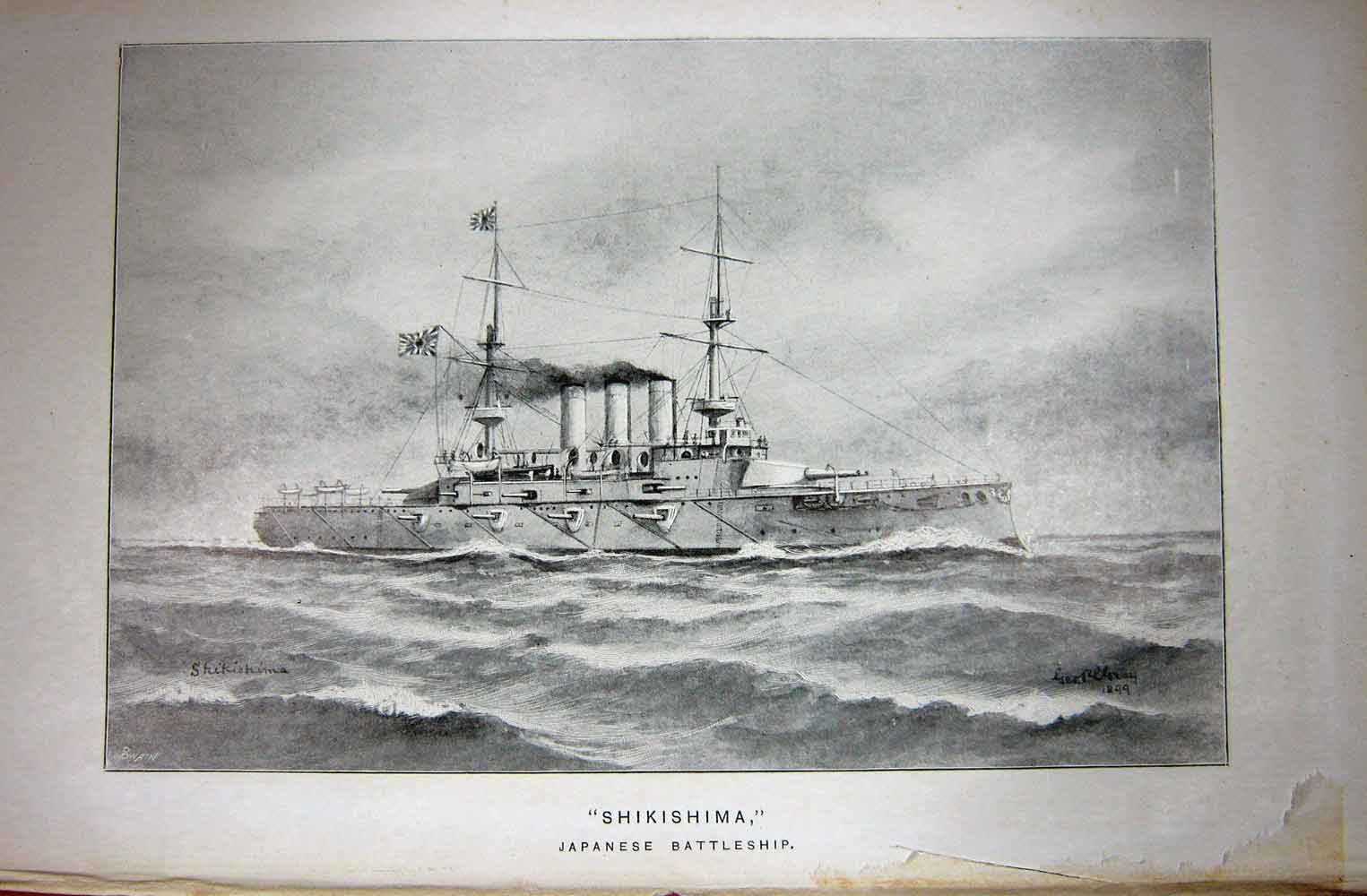 [Print Navy Ship 1899 Shikishima Japanese Battleship War 184C243 Old Original]