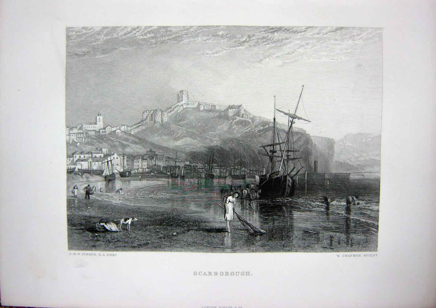 [Print 1873 Art Journal View Scarborough Ship Sea Boats Dog 114C254 Old Original]