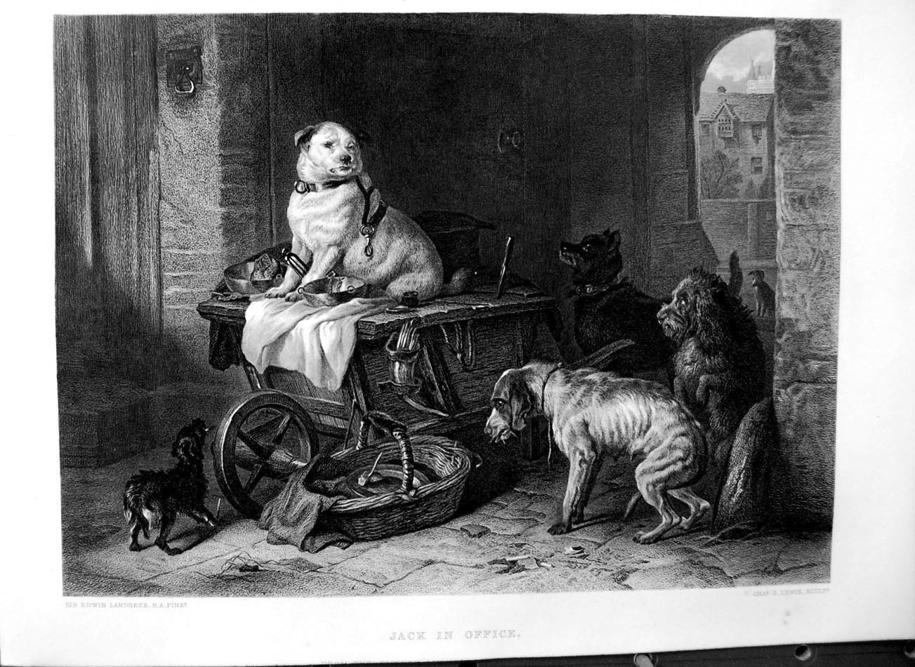 [Print Art Journal 1869 Jack In Officer Angry Dogs Food Basket 120C255 Old Original]
