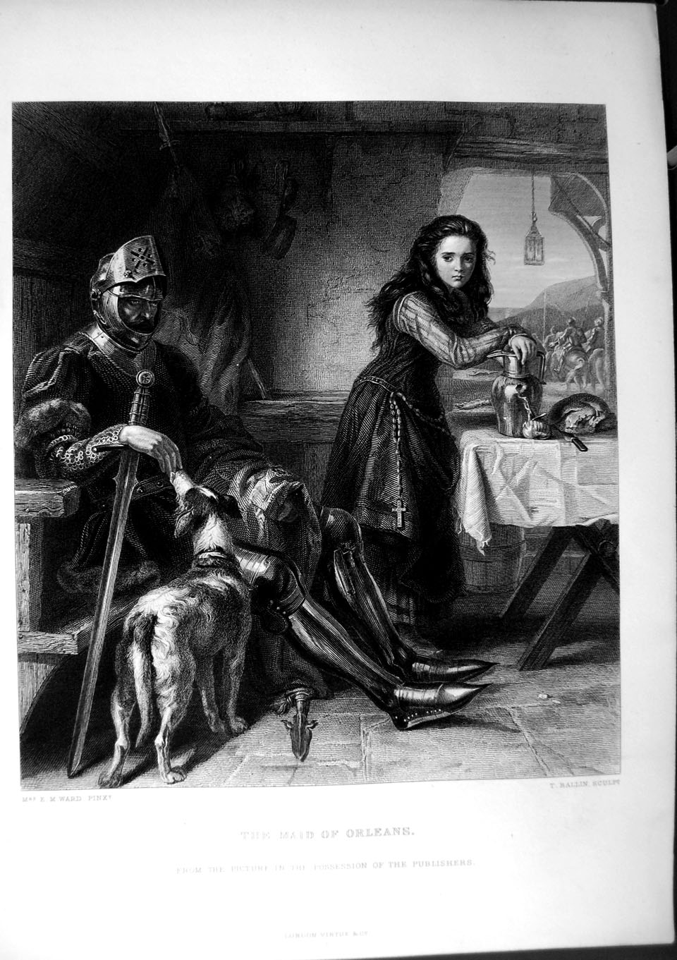 [Print Art Journal 1870 Maid Orleans Knight Armour Dog Lady 178C257 Old Original]