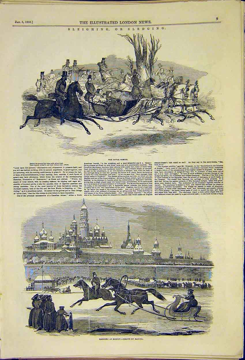 Print Sleighing Sledging Royal Moscow Manuel 1850 09Ccc0 Old Original