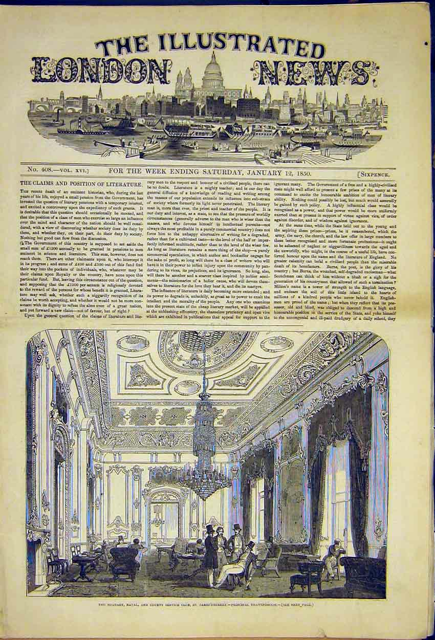Print Military Naval Club St James St Drawing Room 1850 18Ccc0 Old Original