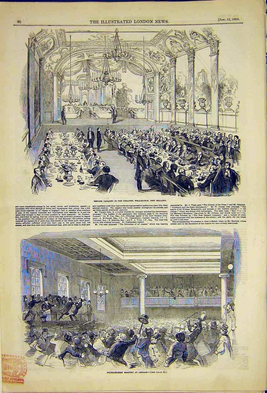 Print Wellington New Zealand Theatre Banquet Lincoln 1850 20Ccc0 Old Original